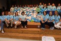 Washington staff and students with plastic bags for recycling