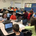 NAMS students participating in Hour of Code activities