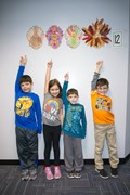 Second graders with their Thanksgiving turkeys