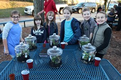 Lincoln students with their finished terrariums