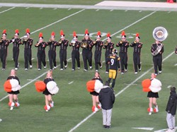 The BPHS Marching Band shares the field with Steelers kicker Chris Boswell