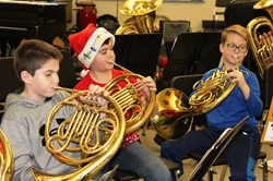 NAMS musicians rehearsing for Brass Day