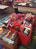 boxes of donated toys