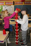 First Graders participate in Dr. Seuss themed STEAM activities