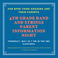 Fourth Grade Band And Strings Parent Information Night Scheduled For May 25