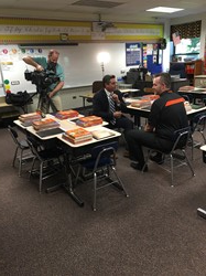 Mr. Johnson is interviewed by WPXI-TV's Joe Arena
