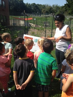 Miss Elaine leads Lincoln Kindergarten students on a Storywalk