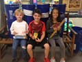 Lincoln students with some of the supplies for hurricane victims