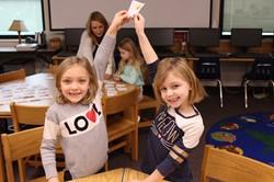 Kindergarten students with their snowmen rhyming words