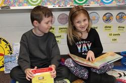 Students doing partner reading