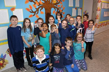 Mrs. Petalino's students dressed in blue for World Diabetes Day