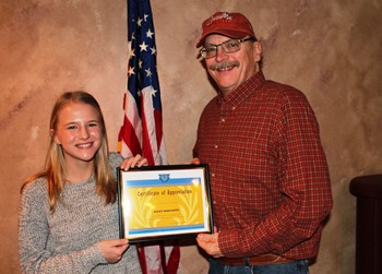 Haley Radcliffe and Rotary President Gary Lee