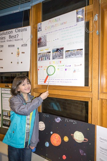Student with her project