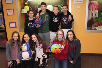 students with their pinatas