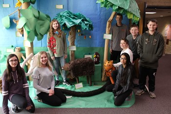 Students with the rainforest biome