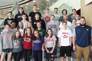 The student athletes recognized at the reception