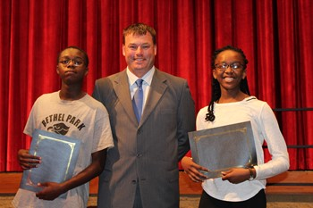 Mr. Muench and the two Principals Award winners