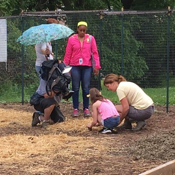 Student and teacher planting in the garden while being filmed by WQED Cameraman