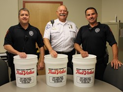 Two BP School Police Officers and one Paramedic with the emergency supply buckets