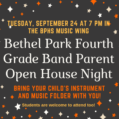 Fourth Grade Band Parent Open House Logo