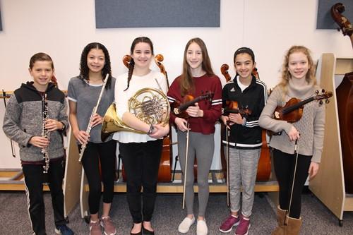 Six IMS Junior High District Orchestra Musicians