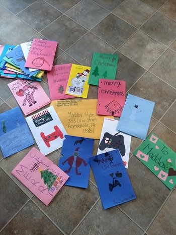 Some of the Christmas cards the students made for Maddox