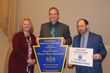 Penn Principal Brian Lenosky and two representatives from the PA Department of Education