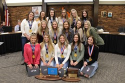 The BPHS Varsity Competitive Cheerleaders and their two 2019 championship trophies