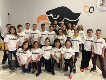 Students wearing their #BeTheKindKid t-shirts
