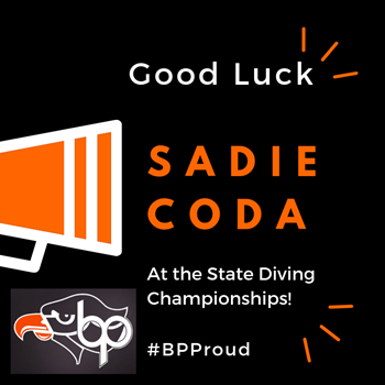 Good Luck, Sadie Coda, in the State Diving Championships