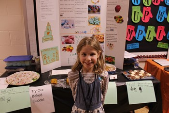 Student with her business