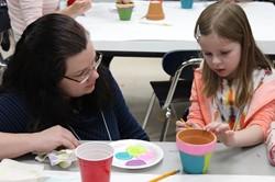 Families painting terra cotta pots