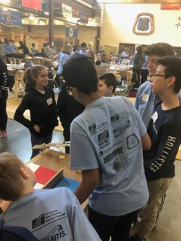 The students working together at the Fluid Power Challenge