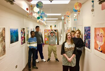 The students in the hallway outside the art room