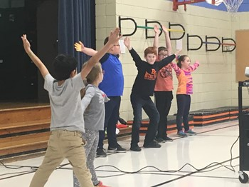 Students playing games at the Kick off assembly