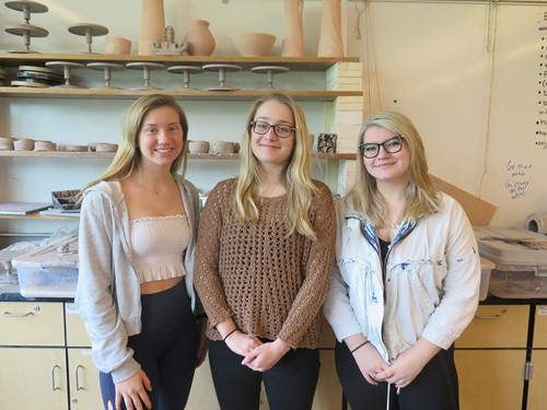 The three BPHS students whose artwork was selected for exhibit at Standard Ceramics