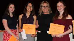 Three students receive a scholarship