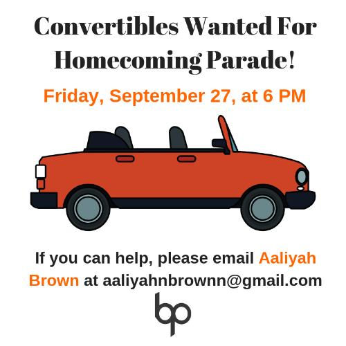 Convertibles wanted for Homecoming Parade logo