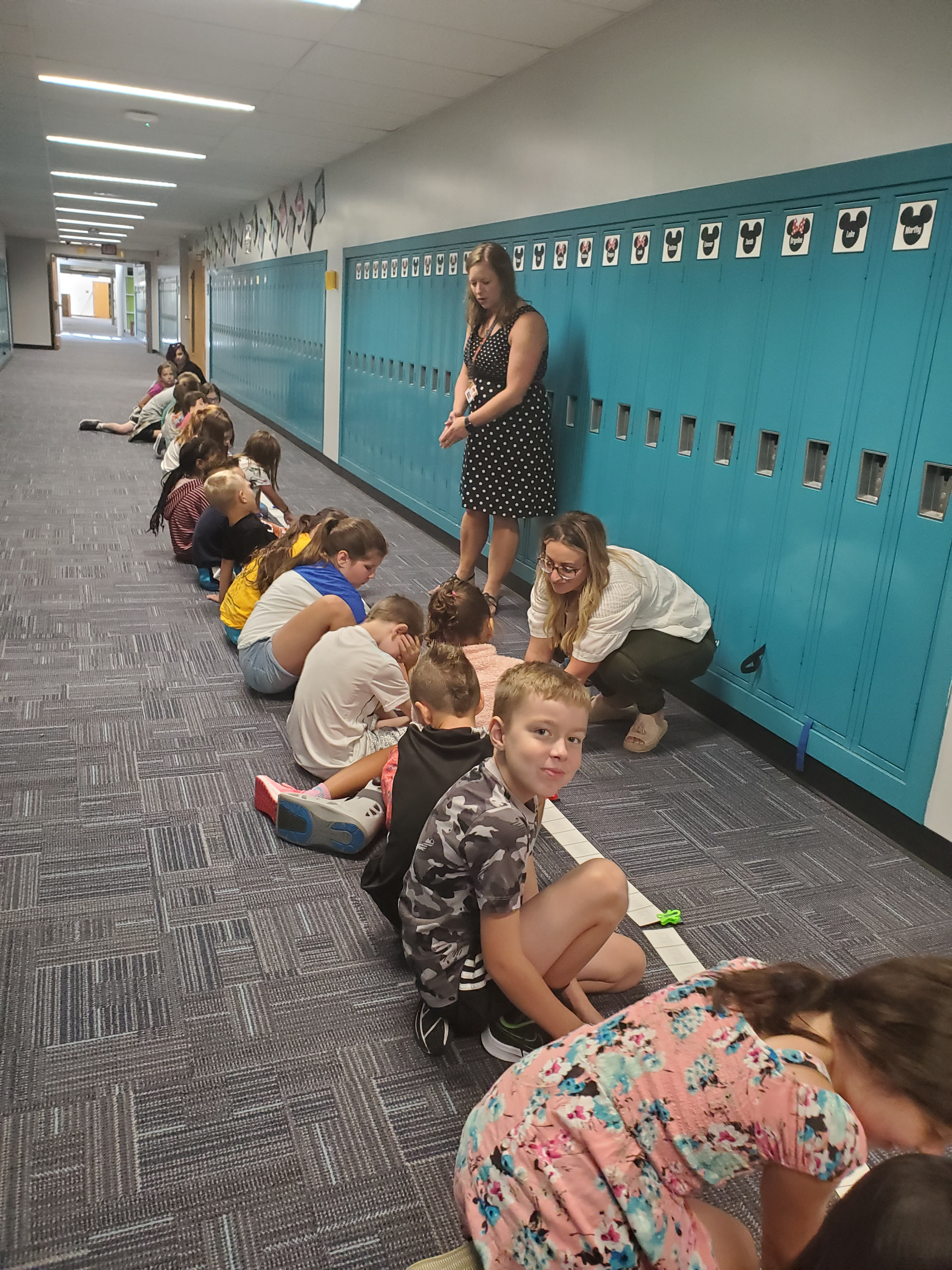 Students in the hallway with the number line