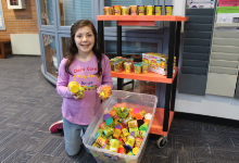 Clara and  some of the donated Play-Doh
