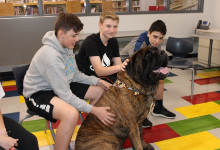Three students petting a dog