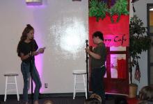 Two students telling jokes