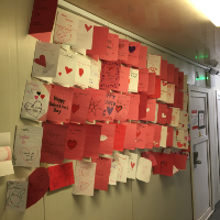 Valentines hanging in the Hall of Heroes