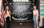 The two students with the mural