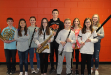 The nine Elementary Band Fest musicians