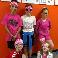 Five students wearing bandannas