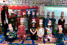 The students with their Cat in the Hat hats