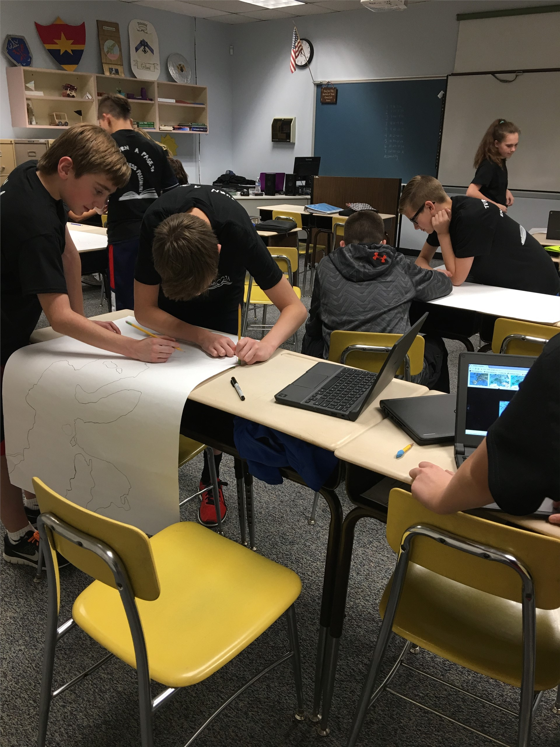 "students creating ""My Country"" project"