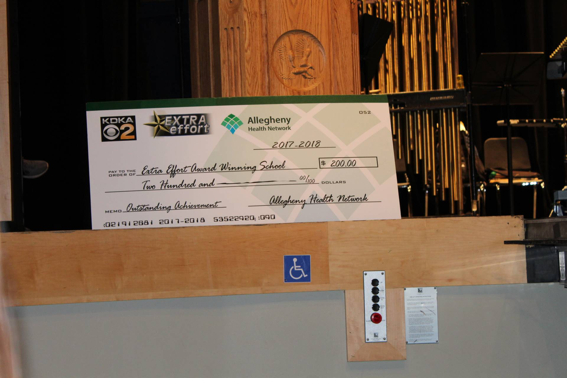 The check from the Allegheny Health Network
