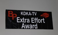 The banner welcoming KDKA to BPHS